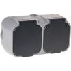 Base Enchufe Doble Con Tapa Bert Ip 54 Gris 13x6x6,5