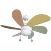 Ventilador Blanco Delfin 6 Aspas C. Pastel 1xe27 41x65x65 Cm 3 Velocidades