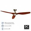 Ventilador Dc Delfos 15w 4000k Cuero/cerezo 3asp  Comp.alexa Y Siri 40x132d 1500lm Remoto